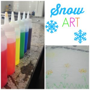 Snow Art. All you need are some squeeze bottles, water, and food coloring to create fun snow art. Come see what we created! Great snow day winter activity for kids.