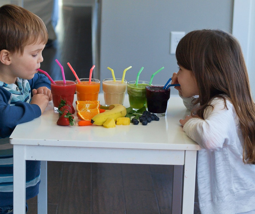 Rainbow Smoothies--Teach Your Kids about Eating The Rainbow with this fun tasting activity!
