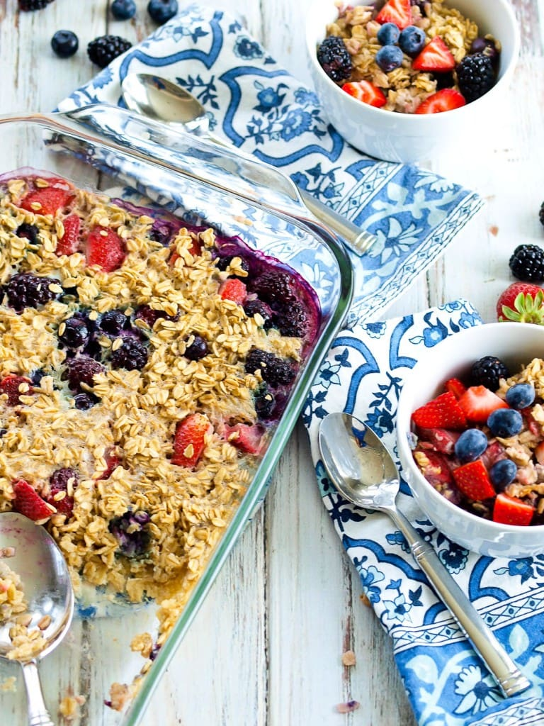 Triple Berry Baked Oatmeal--a healthy breakfast recipe from Happy Healthy Mama