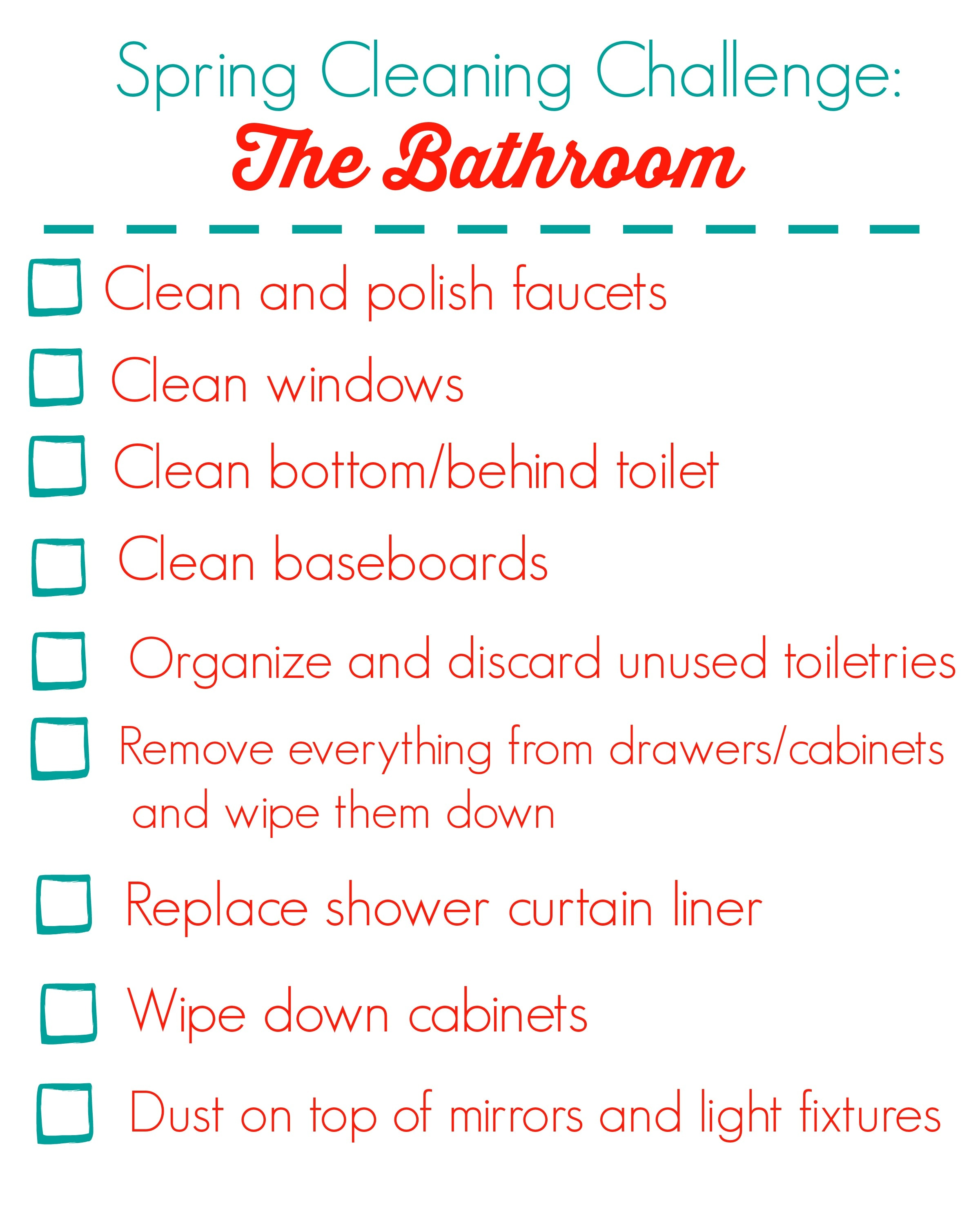 Spring cleaning challenge the bathroom happy healthy mama for Clean bathroom checklist