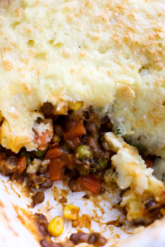 Vegetarian Shepherd's Pie recipe close up shot of the healthy lentils and vegetables