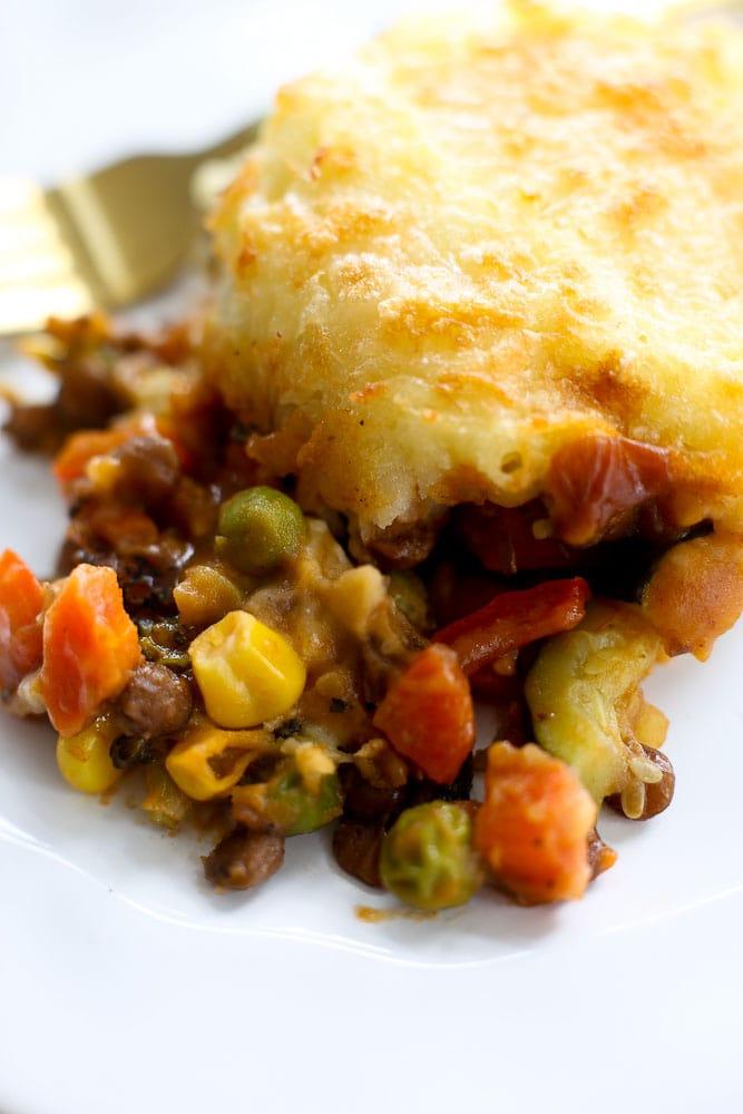 Vegetarian Shepherd's Pie healthy recipe individual serving on a plate