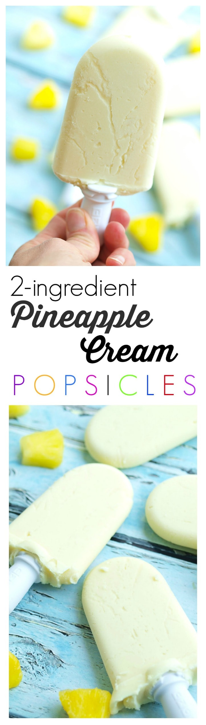 So EASY! 2 ingredient Pineapple Cream Popsicles. Make healthy popsicles at home! This is a vegan and gluten-free recipe that makes a great snack or dessert.