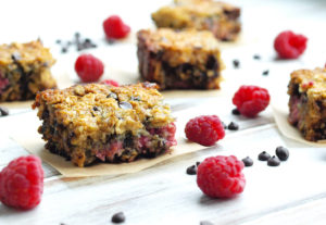 Gluten-free and dairy-free Raspberry Chocolate Chip Bars. These healthy gluten-fee bars are so easy to make. One bowl, no fuss recipe! These are a great healthy breakfast idea or a perfect snack.