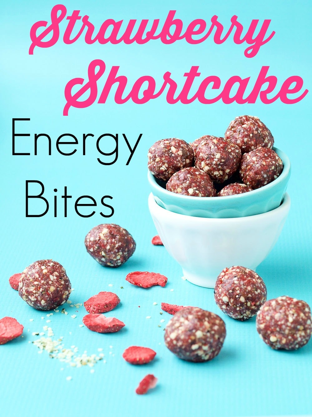 Strawberry Shortcake Energy Balls recipe. These energy bites taste like CAKE!! So easy to make and these are a perfect healthy snack. We love these as a portable grab-and-go snack. Gluten-free, vegan.