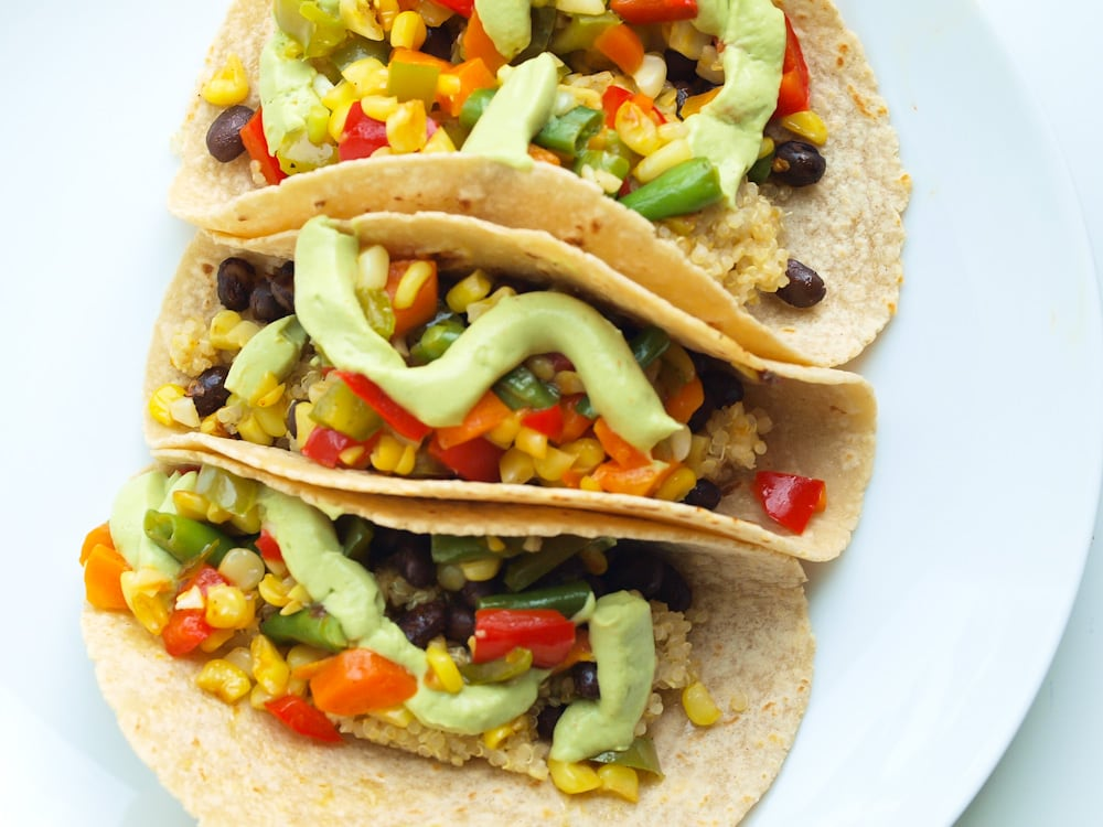 Summer Vegetables Tacos! A great fast and easy weeknight dinner recipe that's great for Meatless Monday!