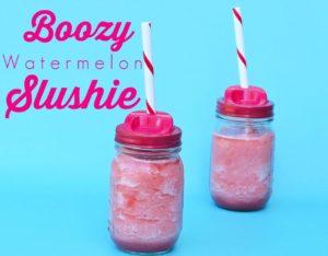 Boozy Watermelon Slushie Recipe. Perfect summer drink!