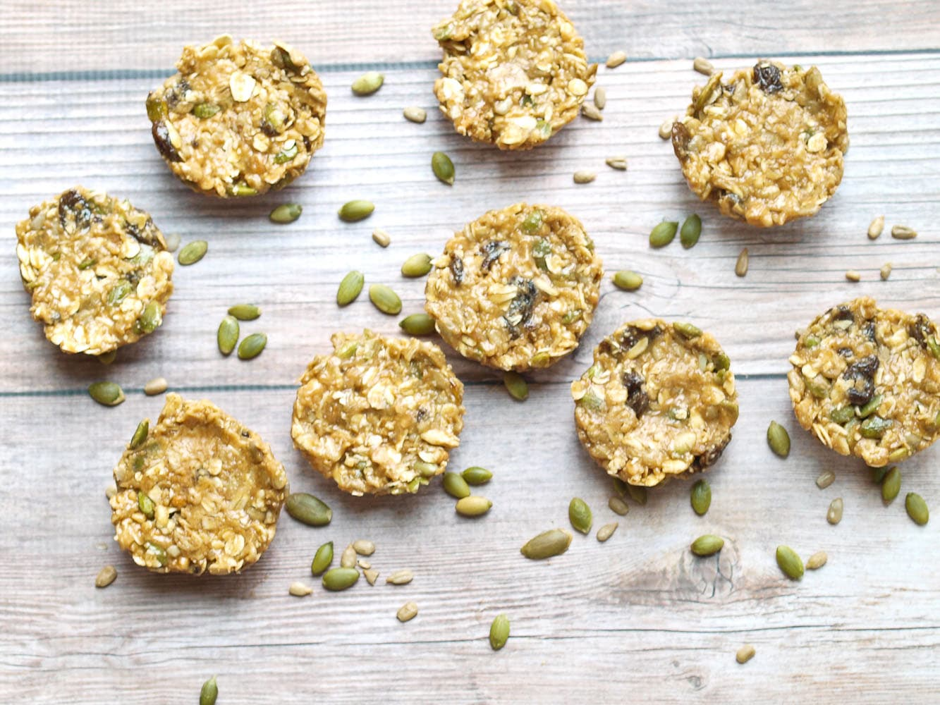 5 Minute No Bake Granola Bars. Full of healthy ingredients like seeds and dried fruit, this is a great healthy snack recipe. Gluten-free, almost vegan (adaptable--sub out the honey for brown rice syrup) and they taste like a treat! Ready in 5 minutes--just one bowl--such an easy recipe
