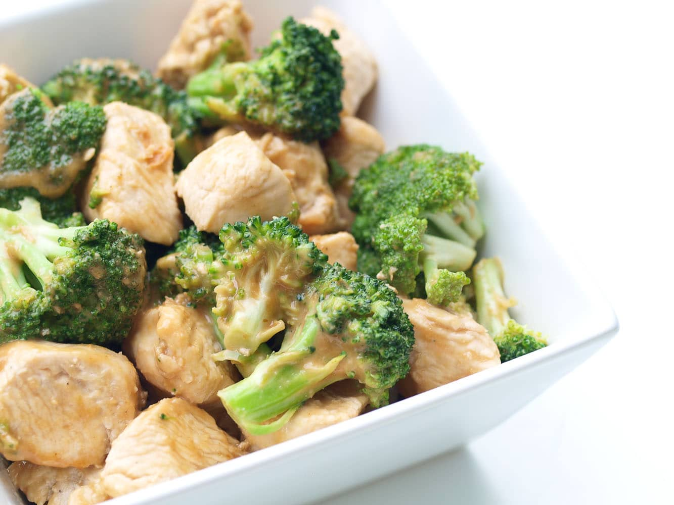 Easy Broccoli and Chicken with Peanut Sauce , Happy Healthy Mama