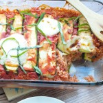 Vegetarian Zucchini Quinoa Lasagna recipe. This is a great, gluten-free way to enjoy the flavors of lasagna! It's so much lighter than regular lasagna! This is a perfect summer dinner that the whole family will love.