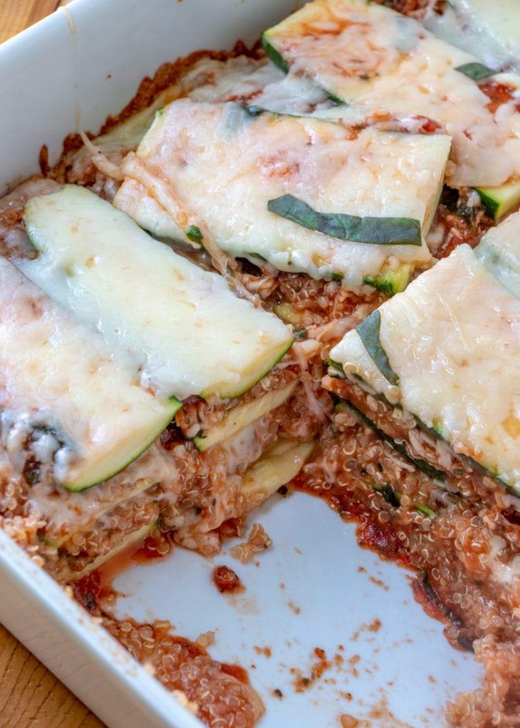 ZUCCHINI QUINOA LASAGNA recipe in serving dish