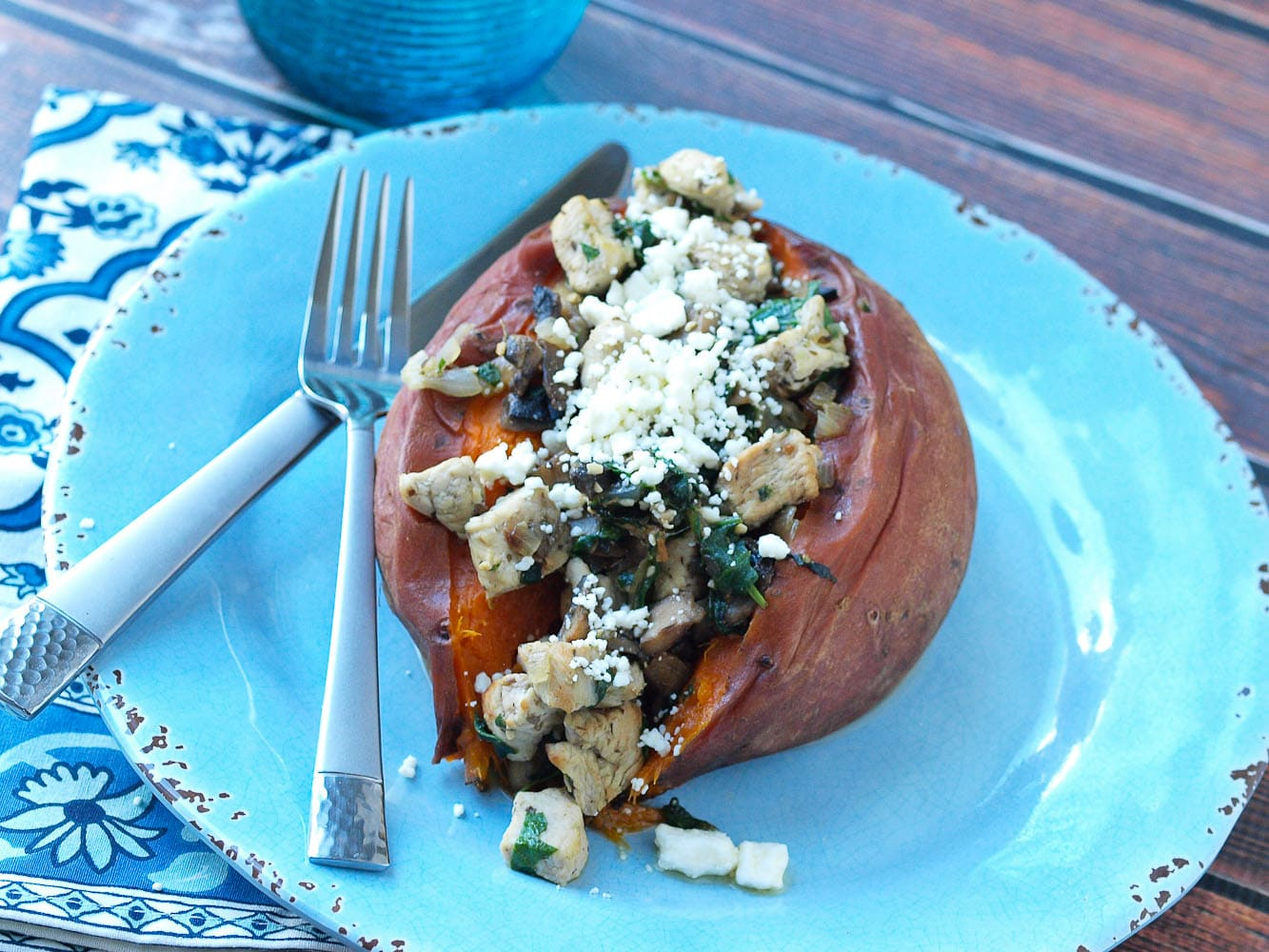 Chicken, Spinach, Mushroom, and Feta Stuffed Sweet Potato