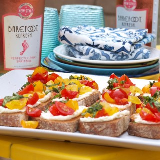 Easy Summer Entertaining:  Whipped Feta Bruschetta and Barefoot Refresh
