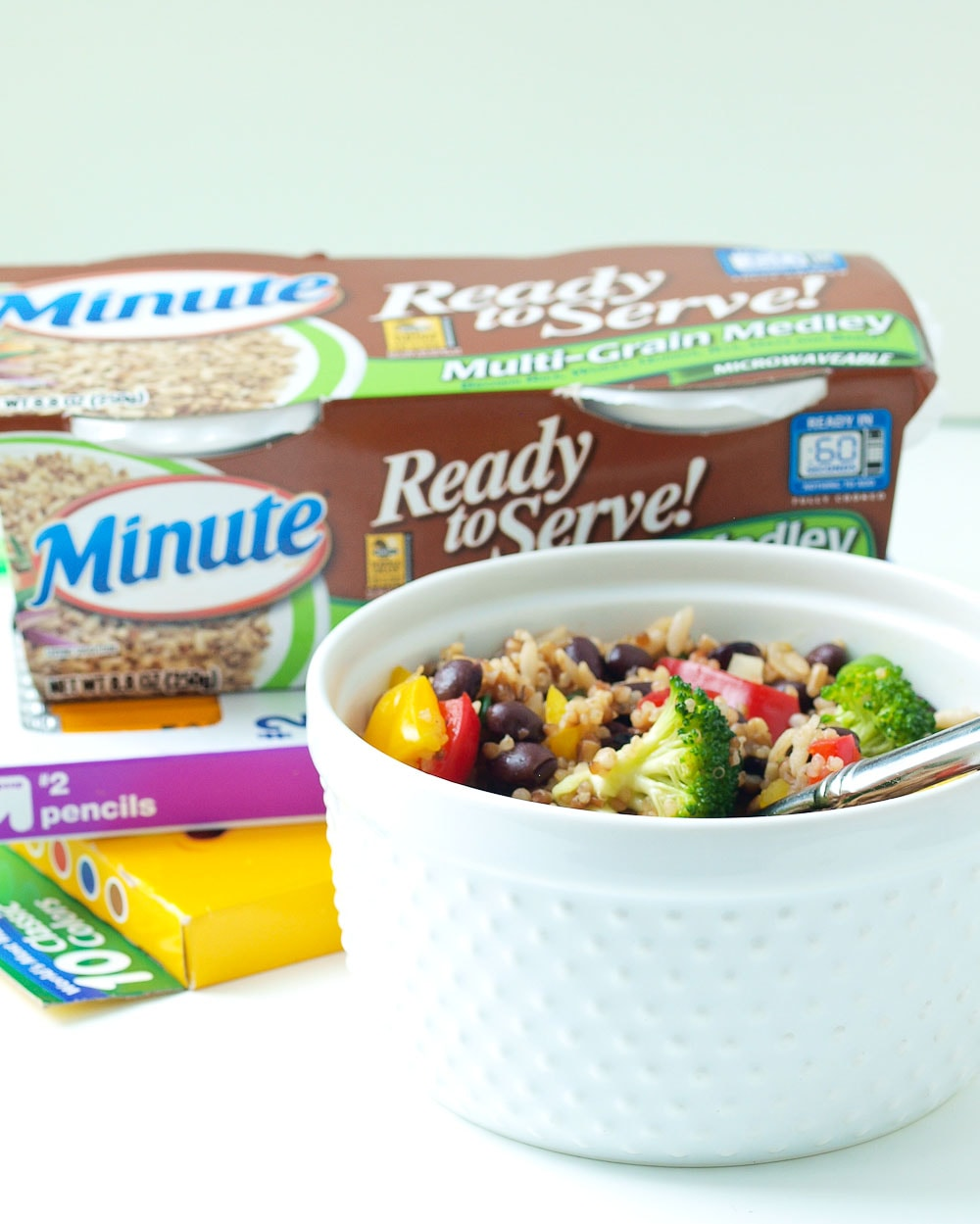 Rainbow Rice and Beans---This healthy lunch is made quickly with Minute Ready to Serve Whole Grain Medley Rice Blend. The portion controlled, portable precooked grains make this the perfect lunch to pack for school or work!