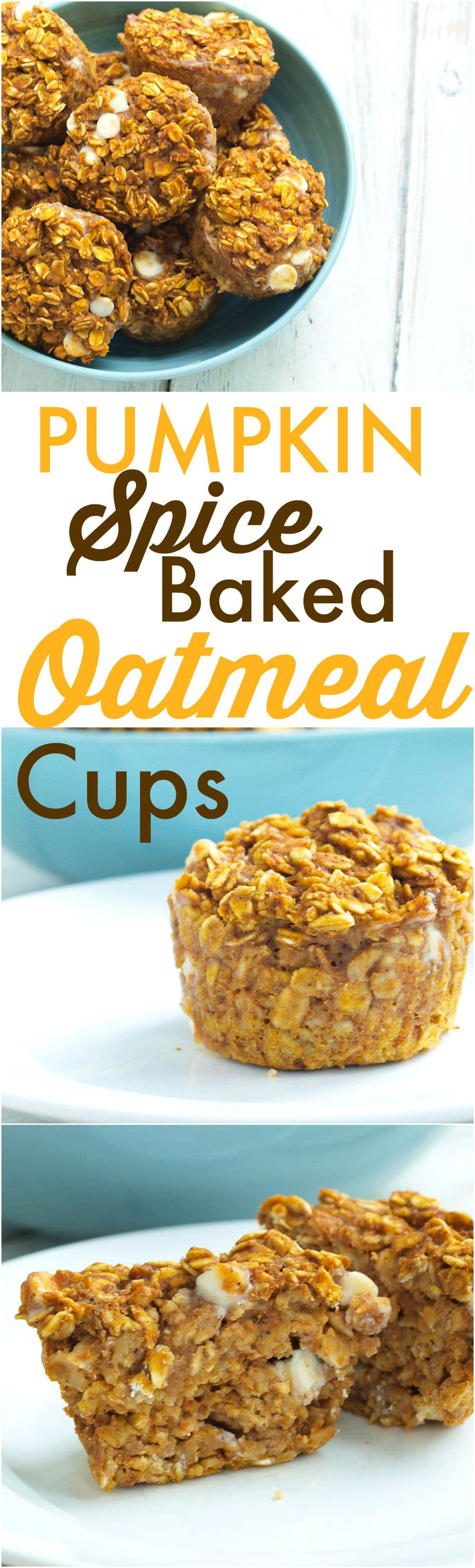 These Pumpkin Spice Baked Oatmeal cups are a perfect portable, breakfast to go idea! It's a healthy recipe with 100% whole grains and low sugar. The flavor is perfect for fall, but I will eat these all year.
