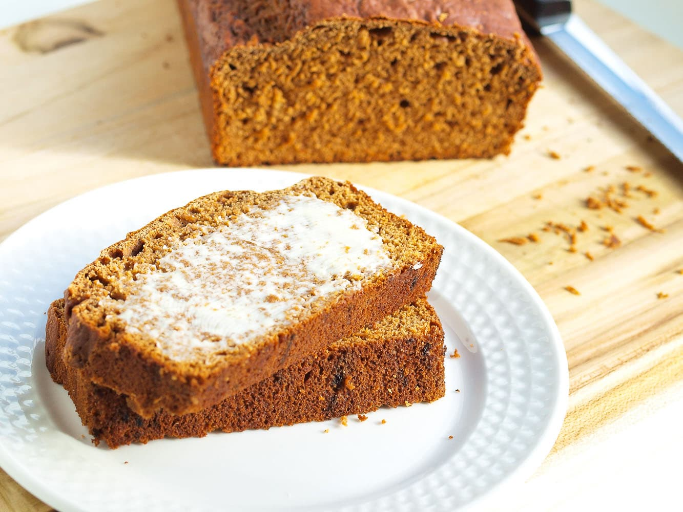 100% Whole Wheat Molasses Quick Bread. This is a vegan quick bread recipe that is super easy--one bowl--and totally delicious!! Your family will gobble this up and won't even realize it's healthy.