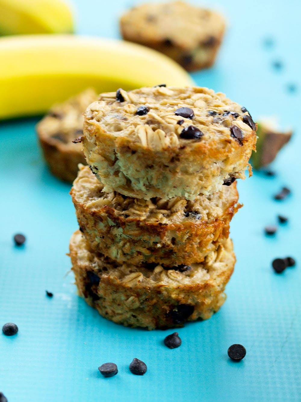 Banana Chocolate Chip Baked Oatmeal Muffins - Happy Healthy Mama