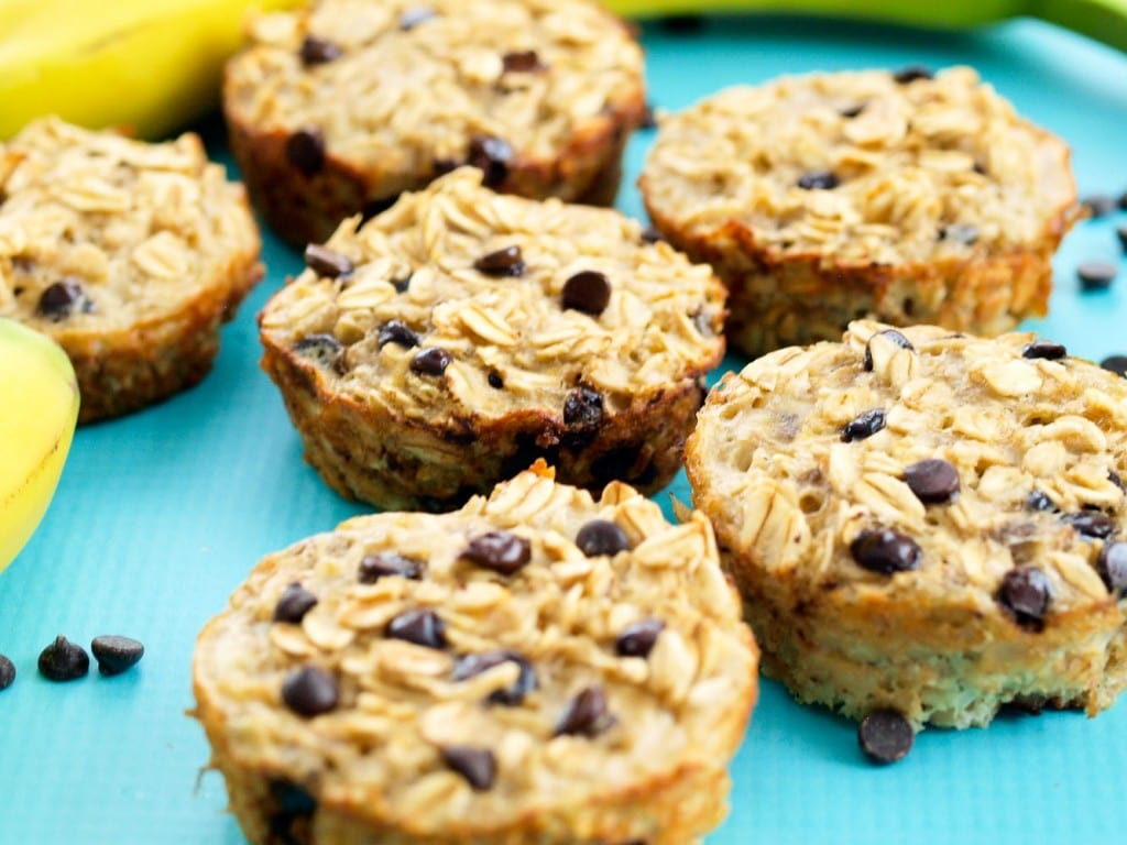 These Banana Chocolate Chip Baked Oatmeal Muffins are a great portable ...