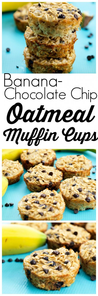Banana Chocolate Chip Baked Oatmeal Muffins. Mix it together the night before and bake them in the morning. Just banana, oats, and eggs and you have a delicious healthy breakfast that is portable! Baked oatmeal to go. :)