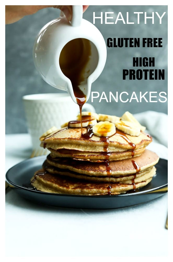 This is the BEST Healthy Pancake Recipe you will try! It's SO easy you can seriously make this on weekday mornings! #healthy #pancakes #easy #glutenfree #protein #recipes #oats #greekyogurt