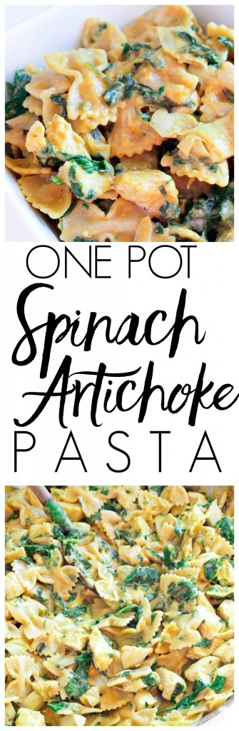 This Spinach Artichoke Pasta with Chicken recipe is made in ONE POT with just 7 INGREDIENTS and is ready in LESS than 30 minutes! This will become a weeknight favorite dinner!