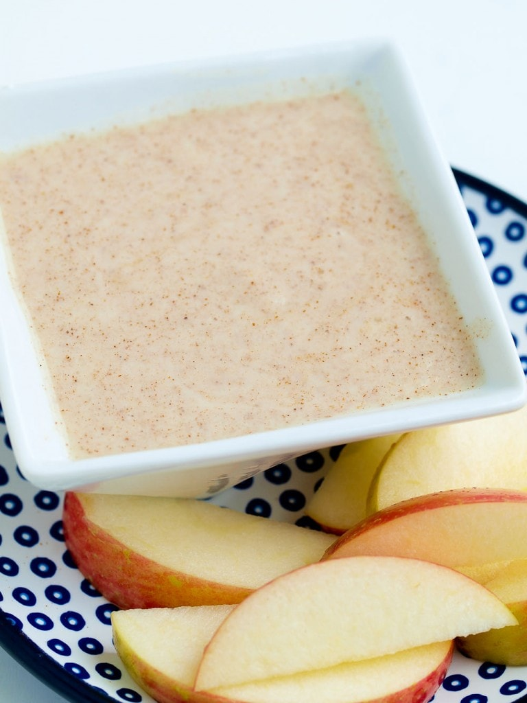 Healthy fruit dip made with non-dairy yogurt alternative and naturally sweetened. 11 grams of plant protein per serving!