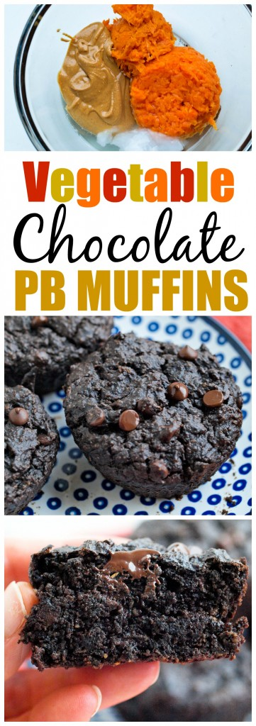 Double Chocolate Peanut Butter Muffins with Vegetables recipe. Vegan and gluten-free muffin recipe and your kids will never suspect they are made with a cup of vegetables!