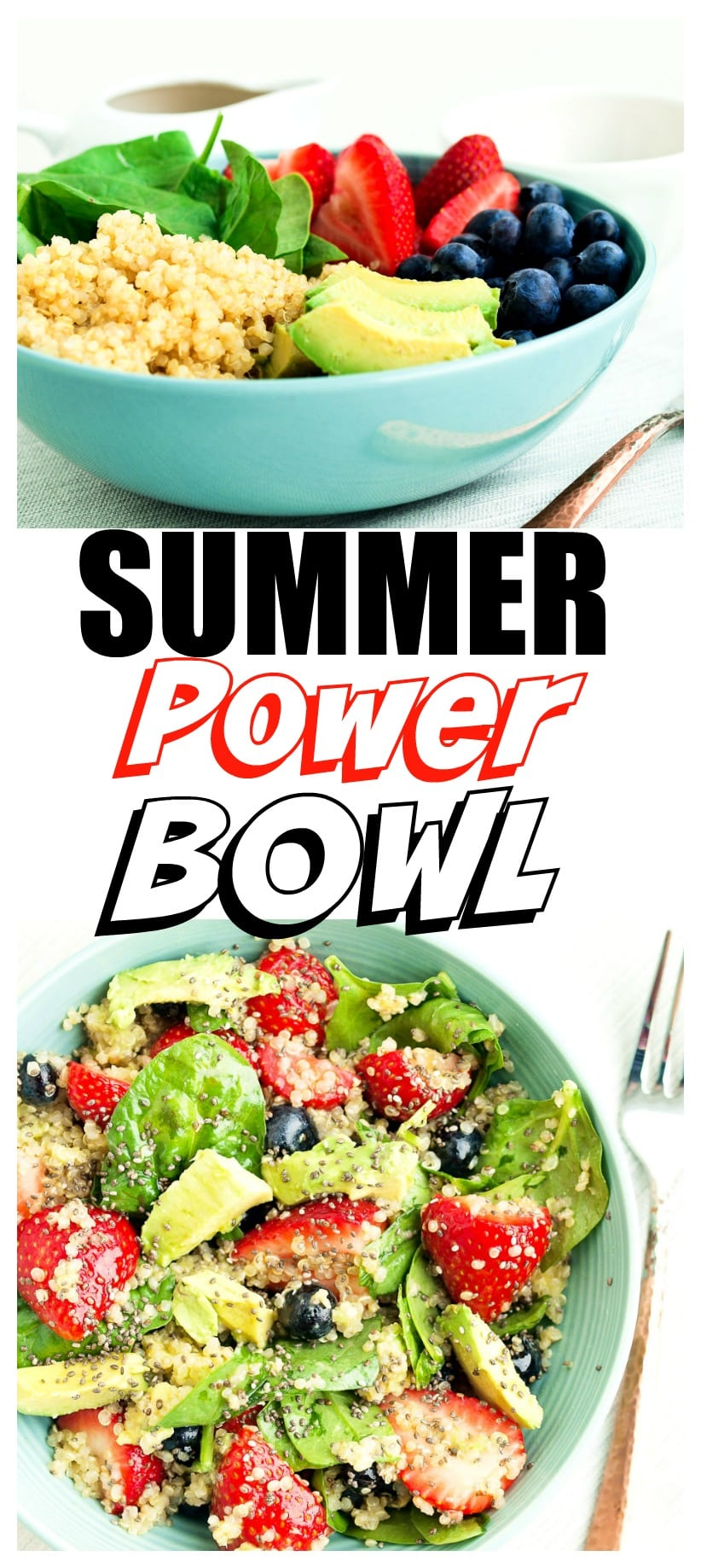 Summer Power Bowl Recipe | healthy | quinoa | gluten-free | spinach | strawberries | blueberries | salad