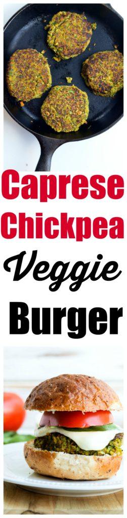 Caprese Chickpea Veggie Burger Recipe. The BEST summer veggie burger!!http://happyhealthymama.com