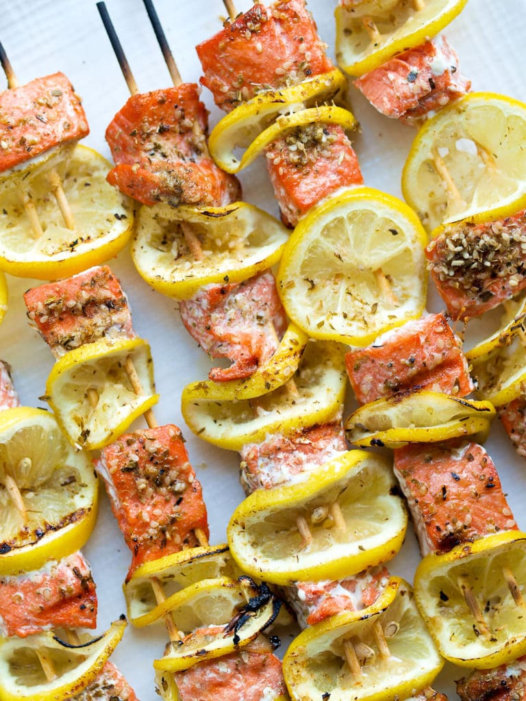 Easy Salmon Kabobs Recipe. #grill #grilling #grilledsalmon #summer #glutenfree #paleo #keto #easy #dinner #healthy #healthyrecipes