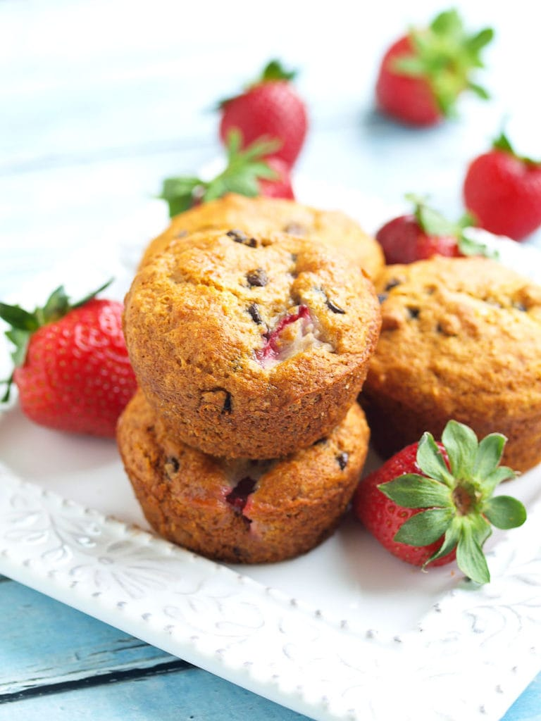 Vegan Strawberry Chocolate Chip Muffins