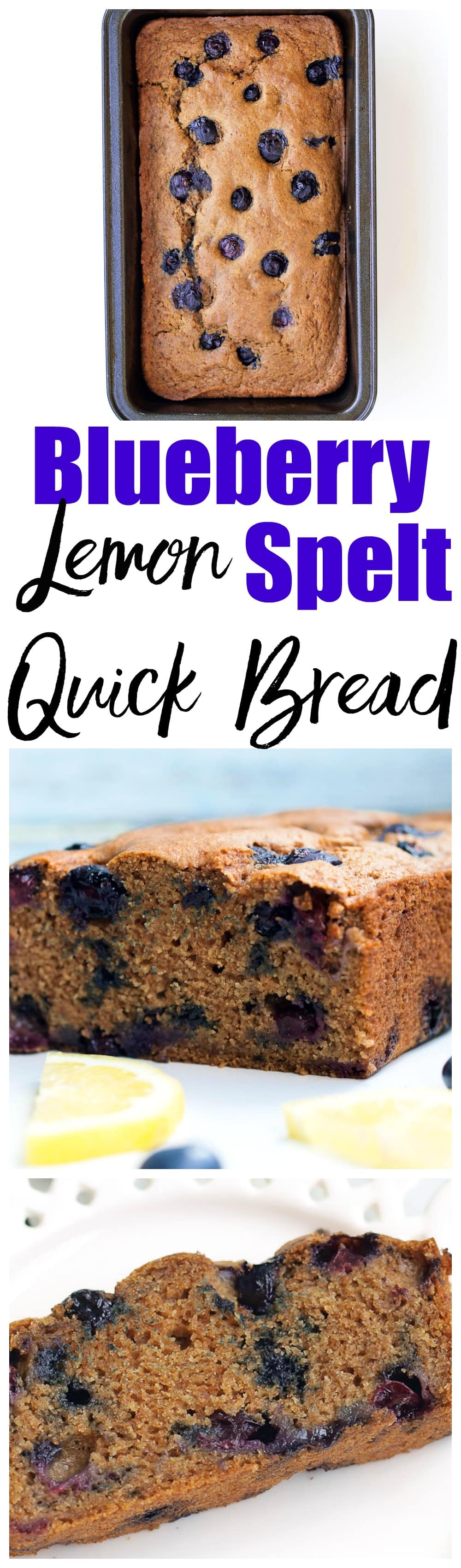 This Vegan Blueberry Lemon Spelt Quick Bread recipe is a healthy quick bread recipe made with no refined sugar and bursting with fresh blueberries! My kids loved this and devoured it like it was cake!!