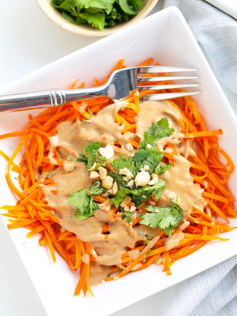 Sweet potato noodles with peanut sauce #vegan #glutenfree #easy #healthy #dinner #quick #healthyrecipes #recipes #dinnerrecipes