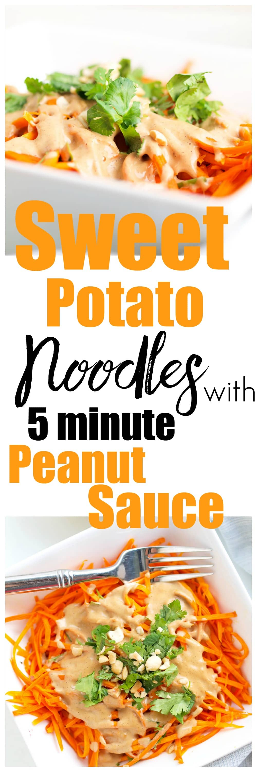 Looking for a quick, easy, and healthy dinner idea? This Sweet Potato Noodles with 5 minute Peanut Sauce recipe takes just 20 minutes and is gluten-free, vegan, and sooo good! Just 350 calories per serving.