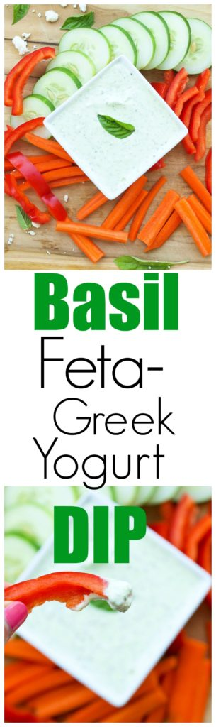 Basil Feta Greek Yogurt Dip Recipe. This is a healthy vegetable dip recipe that is perfect as a healthy appetizer idea or a healthy snack idea! Low calorie and gluten-free snack.