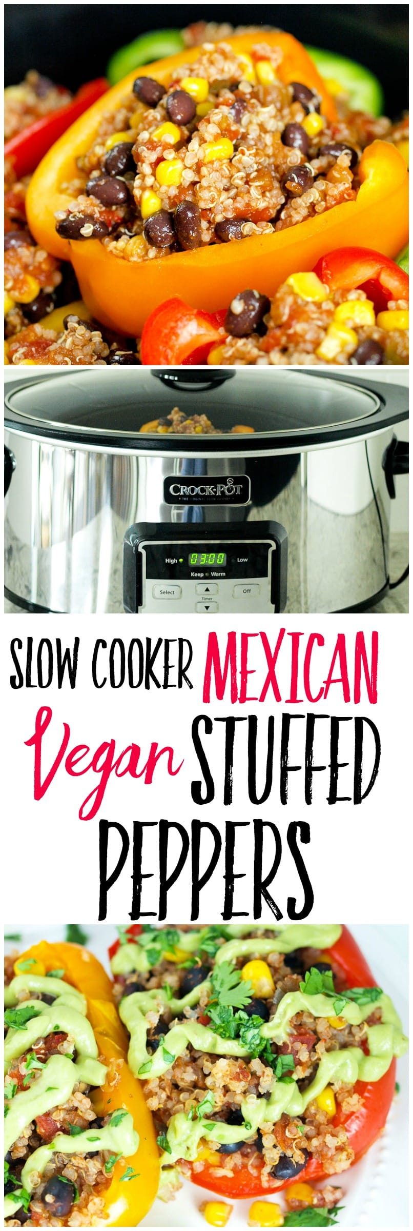 This slow cooker Vegan Mexican Stuffed Peppers recipe makes a healthy weeknight dinner idea that your whole family will love! Use your Crock-Pot® to makes this vegan, gluten-free, DELICIOUS dinner!