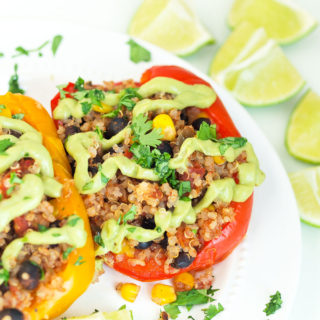 Vegan Mexican Stuffed Peppers {Slow Cooker Recipe}
