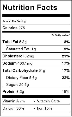 Apple Cinnamon Baked Oatmeal Nutrition