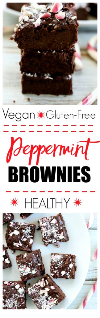 Peppermint brownies recipe. These healthy brownies are vegan and gluten-free! They are flourless, made with maple syrup and black beans but you'd never know it! So good! Great Christmas dessert idea.