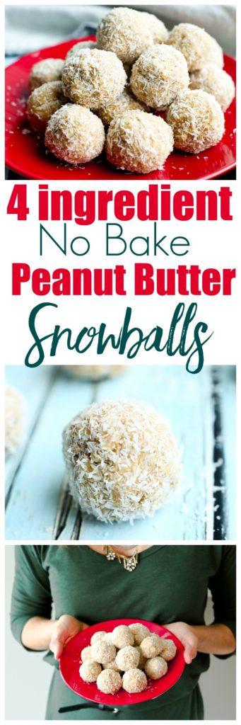 Only 4 ingredients! No Bake Peanut Butter Snowballs. These are a gluten-free treat and can also be made vegan. Great healthy and EASY recipe!