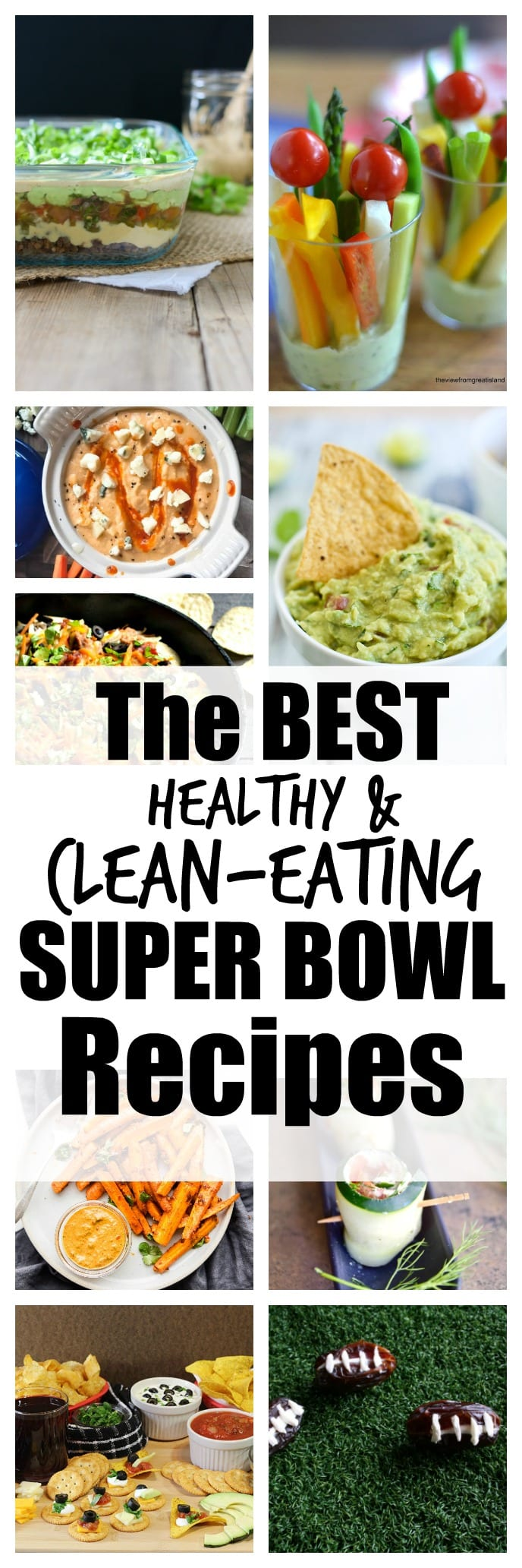 Healthy clean eating Super Bowl recipes. The ultimate list of healthy party food! Lots of gluten-free vegan and vegetarian recipes