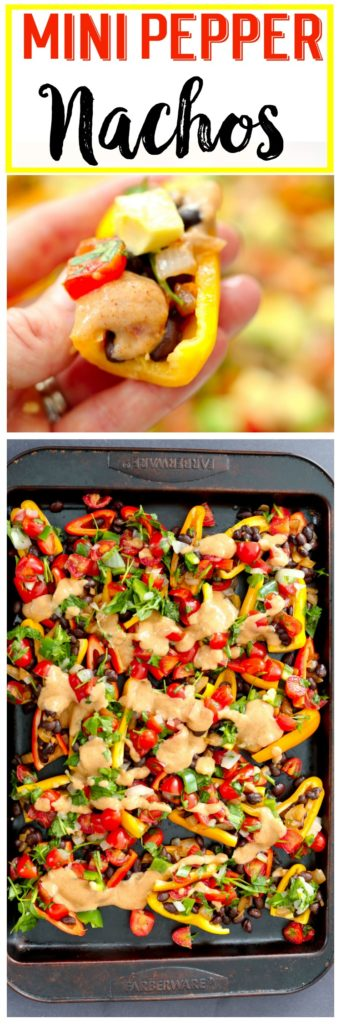 Healthy Mini Pepper Nachos recipe! Vegan and gluten-free appetizer recipe that is perfect healthy Super Bowl Food!