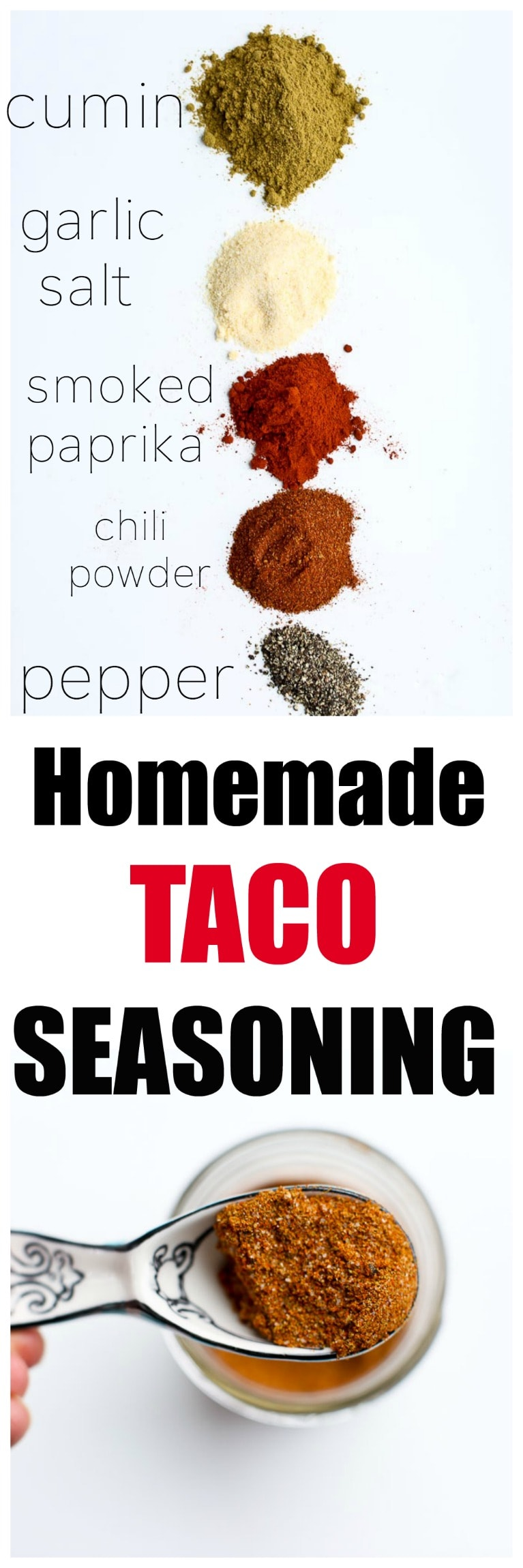 Homemade DIY Taco Seasoning Recipe. Save money and it's healthy with no added starches, oils, or MSG like you find in the store bought stuff.