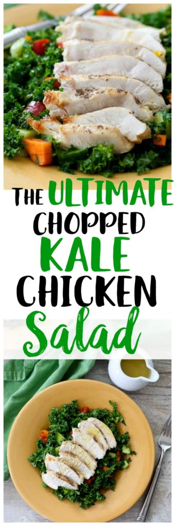 Chopped Kale Chicken Salad recipe! Healthy gluten-free salad with no sugar dressing