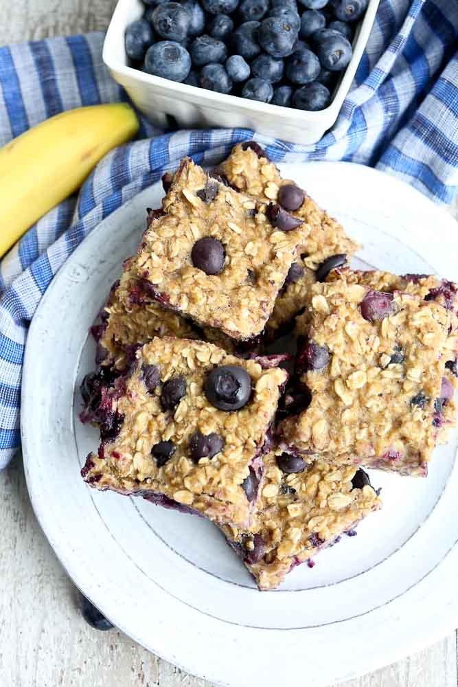 Overhead shot of Blueberry Banana Oat Bars Recipe