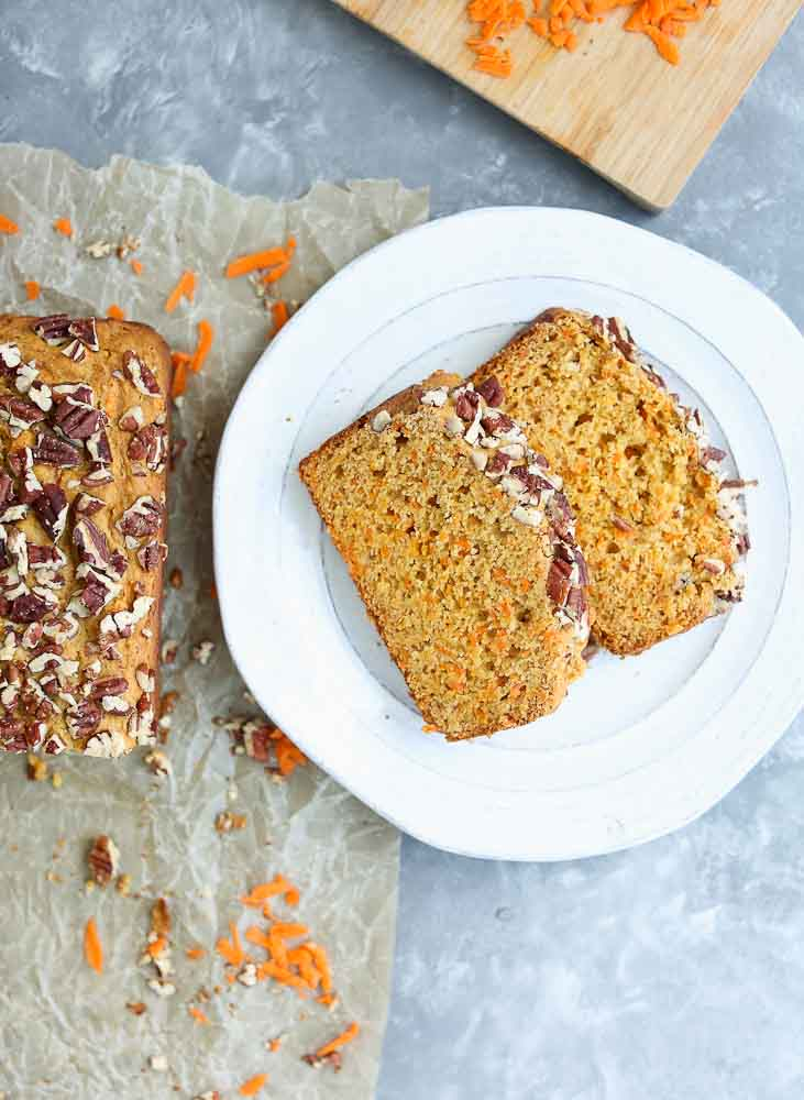 Two Slices of Carrot Honey Quick Bread