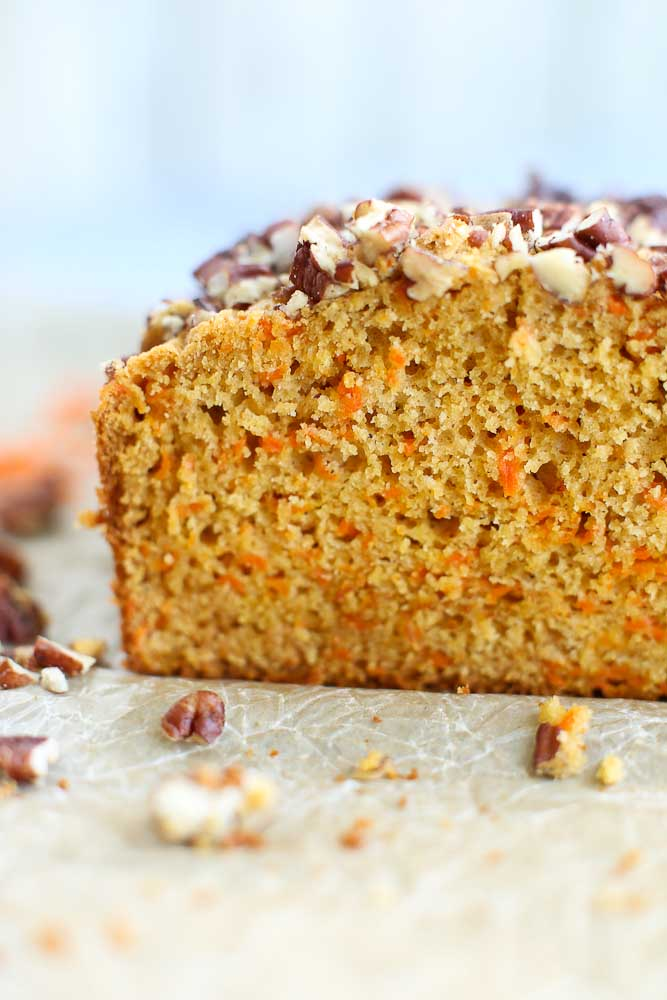 Close up of the Carrot Honey Quick Bread