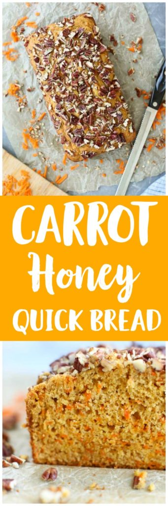 The BEST quick bread recipe! Healthy Carrot Honey Quick Bread is so moist and has a vibrant color. YUM.