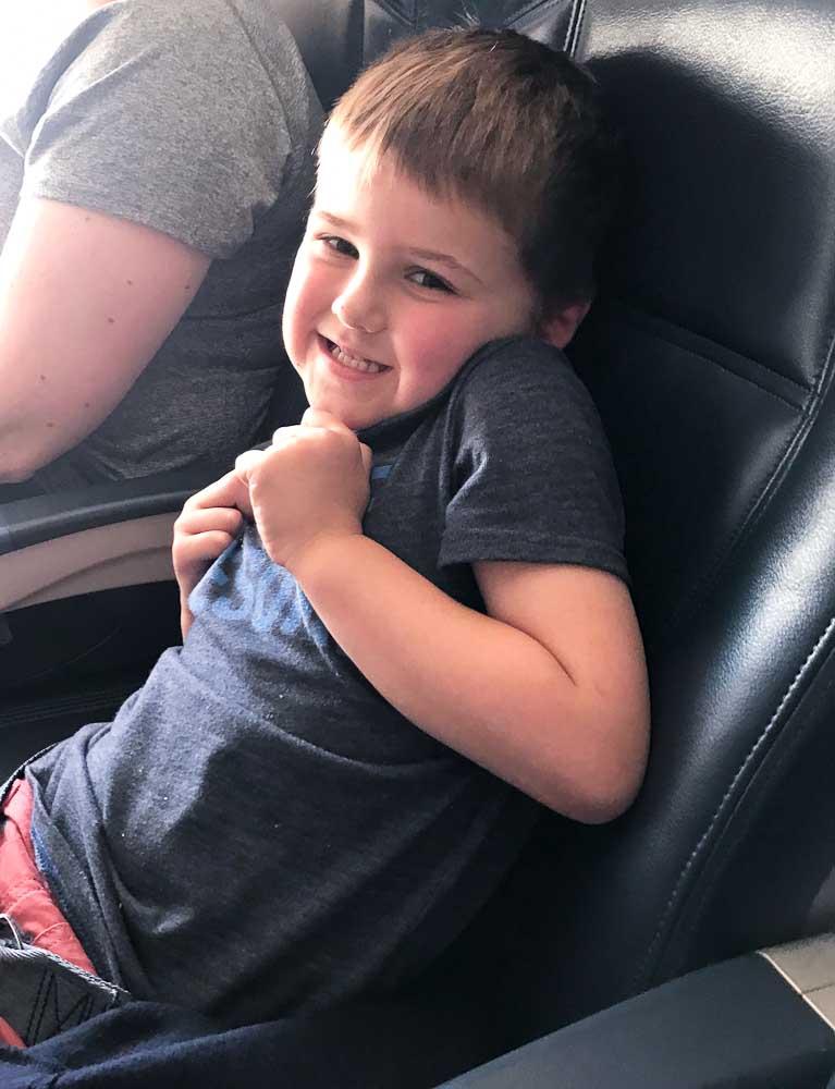 Luke on the plane heading to Mexico