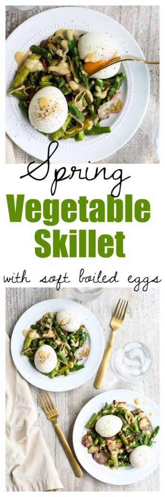 This healthy breakfast recipe is a Spring Vegetable Skillet with the most dreamy soft boiled eggs! Great way to eat more vegetables at breakfast!!